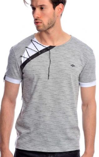 Fargo Designer Grey Black White Fitted T Shirt Draw String Detail Crew Neck